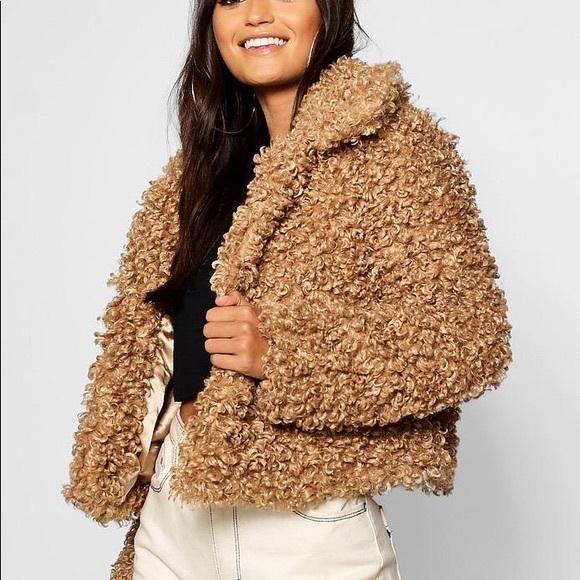 1b838fcacca Deals on Boohoo Plus teddy coat in brown - Brown S